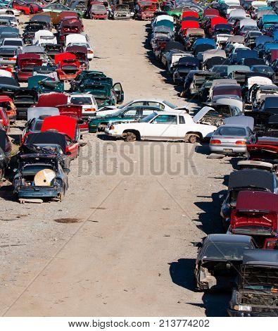 Used Cars At Scrap Yard