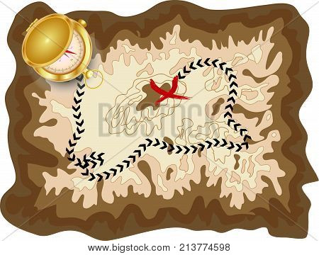 A Pirate Old Map On A Yellow Parchment With A Marked Route And A Red Mark With A Golden Compass Lyin