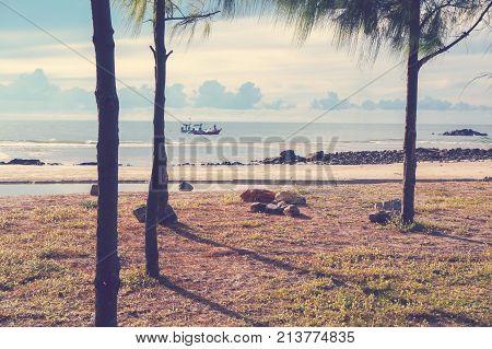 Landscape shot on the beach at Phetchaburi Thailand.