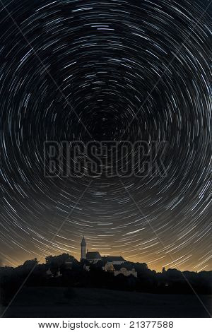 An image of a star trails background