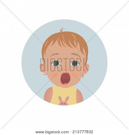 Cute shocked baby emoticon. Scared child emoji. Afraid toddler smiley. Frightened expression. Isolated vector illustration