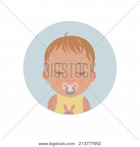 Cute baby sleeping with soother emoticon. Sleepy child with pacifier emoji. Toddler sleep with dummy vector icon.