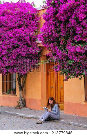 Young woman reading book on a sidewalk in historic quarter of Colonia del Sacramento Uruguay. It is one of the oldest towns in Uruguay