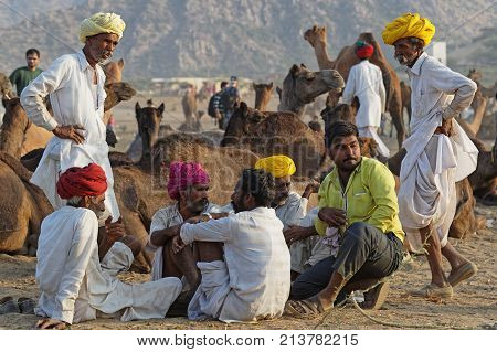 Pushkar, India, October 28, 2017 : Farmers Gather On The Festival. Pushkar Camel Fair Is One Of The