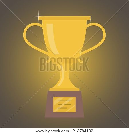 The big award is the golden cup for the victory. The concept of victory. Vector illustration.