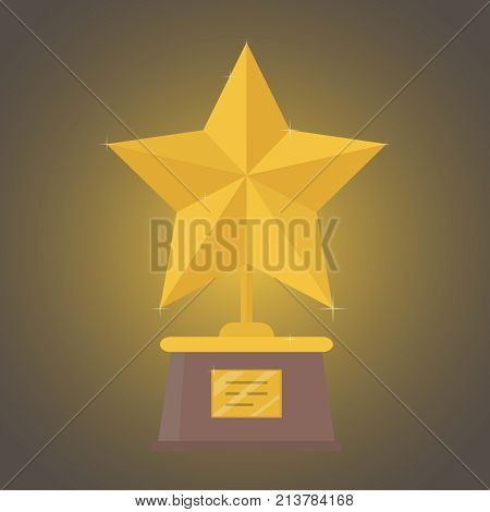 A big gold star, a reward for the victory. The concept of victory. Vector illustration.