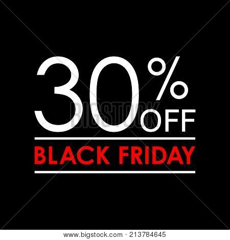 30% off. Black Friday sale and discount banner. Sales tag design template. Vector illustration.
