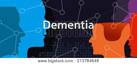 Dementia alzheimer brain neurology health problem head thinking concept vector