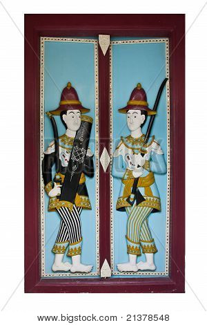 Solider carved wood at Wat Phra Kaew in Thailand poster