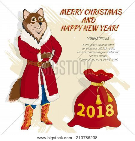 Christmas card with dog in Santa Claus costume, with a bag of gifts. Text with a congratulation Merry Christmas and Happy New Year . Fish is text. Celebratory Banner. Mascot. Vector illustration