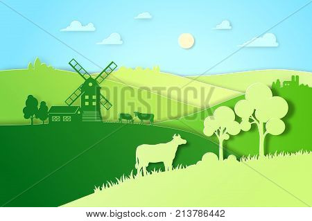 Paper design fields and meadow illustration eco natural farming concept. Farm landscape vector flat illustration for eco product package. Ecological green farming