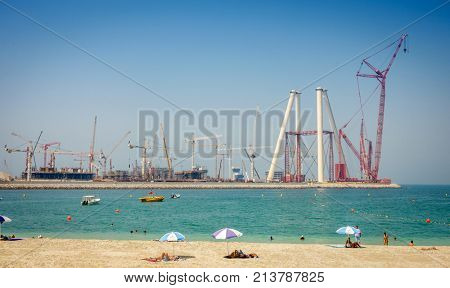 Dubai, UAE, October 6, 2015: beginning stages of construction of Dubai ferris wheel, Ain Dubai, set to be the largest in the world