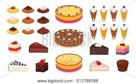 Sweet cakes, belgian, chinese waffles, muffins, brownies set. Made in cartoon flat style. Vector illustration