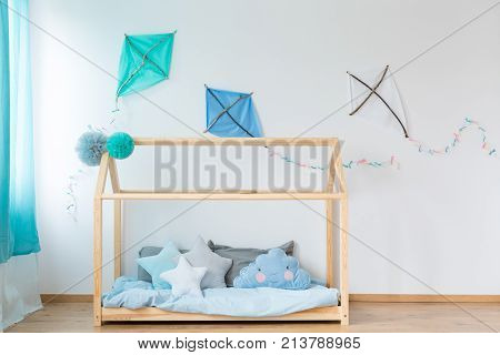 Handmade Bed With Blue Bedding