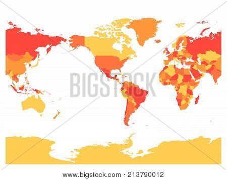World map in four shades of red on white background. High detail America centered political map. Vector illustration