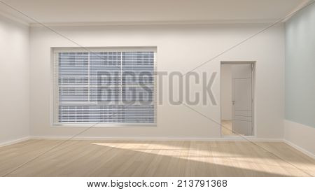 Empty room space interior 3d rendering and sunlight and clean wall feeling comfortable interior design