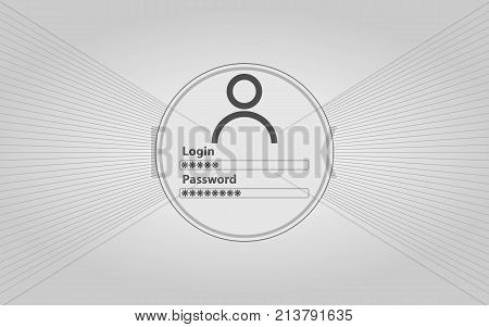 Interface of authorization in white style. Enter your login and password. Objects website.