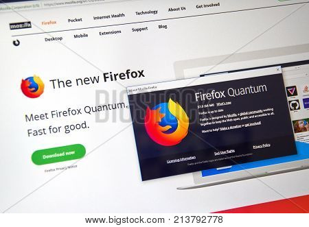 MONTREAL CANADA - NOVEMBER 14 2017: Firefox Quantum web page. Firefox Quantum is a version of Mozilla s internet browser said to be significantly faster and more efficient than its competitors.