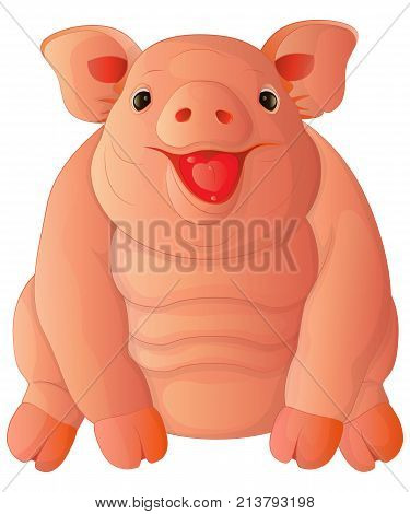 Cute cartoon fat cheeful pig sits and laughs