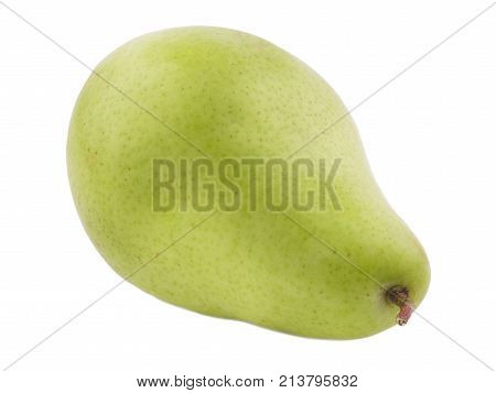 Green pear juicy and useful turned tail to the right on a white isolated background