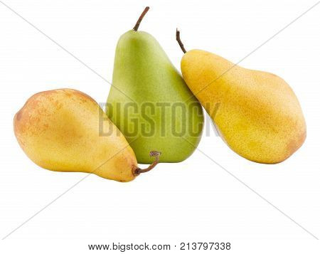 Three juicy pears green and yellow, spiraling on a pear in the middle on a white isolated background