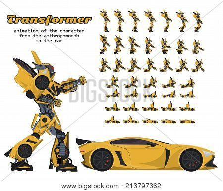 animation of the transformer character from the anthropomorph to the car. Sprite for the game
