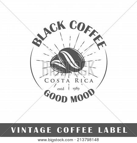 Coffee label isolated on white background. Design element. Template for logo signage branding design. Vector illustration