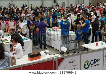 San Jose, Costa Rica - November 12, 2017: The Largest Robotics Competition In Costa Rica For Student