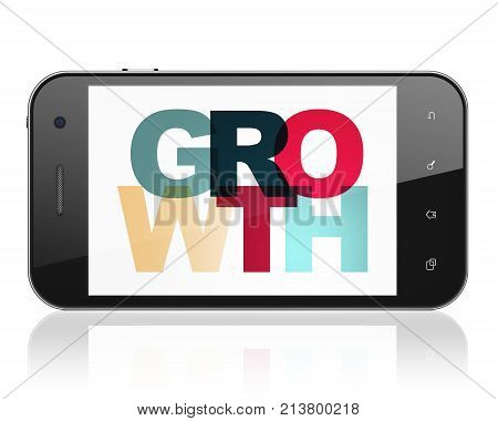 Finance concept: Smartphone with Painted multicolor text Growth on display, 3D rendering