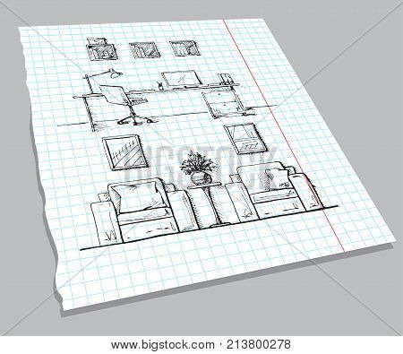 Hand drawn sketch of the interior on a notebook sheet. Linear sketch of an interior. Room plan. Hand drawn vector illustration of a sketch style.