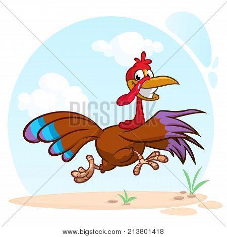 Screaming running cartoon turkey bird character. Vector illustration of turkey escape