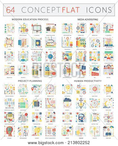 Infographics concept icons of modern education, media adversiting, project planning, human productivity. Premium quality vector flat design for web graphics isolated