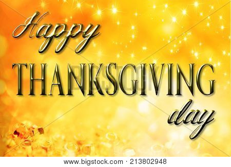 Abstract holiday gold background with thanksgiving greetings