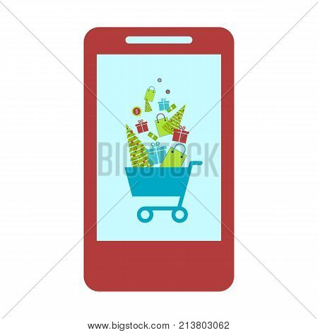 Concept of online shop e-commerce store internet shop isolated smartphone as ecommerce online store with shopping cart .Christmas shopping.