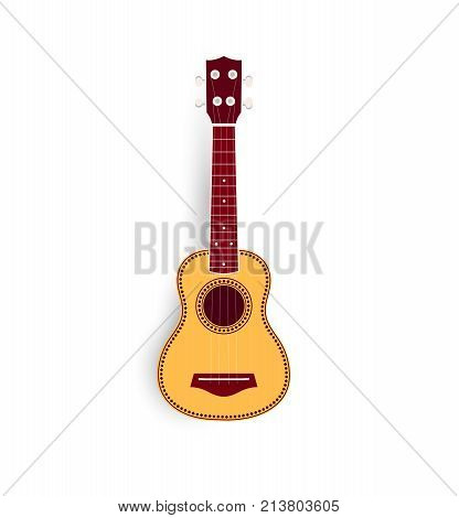 Ukulele vector realistic illustration, yellow small soprano ukulele logo for music shop or web. Hawaiian guitar, national musical instrument