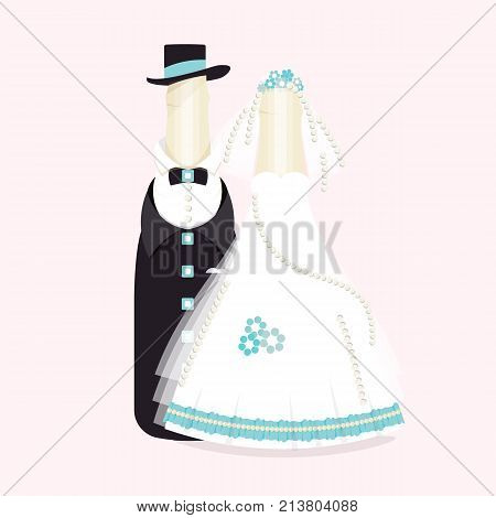 Bottles of wine, champagne in suits of newlyweds. elegant wedding design. Abstract groom and bride souvenirs, cake decorations. Vector illustration