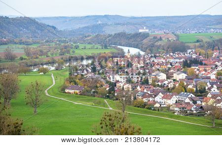 Autumn view to Offenau from tower in Bad Wimpfen, old traditional German city in Baden-Wurttemberg, Germany