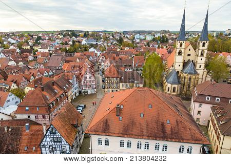 Panoramic view to red roofs of old traditional German city Bad Wimpfen, Baden-Wurttemberg, Germany