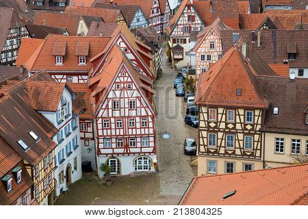 View to old traditional German houses in Bad Wimpfen city, Baden-Wurttemberg, Germany