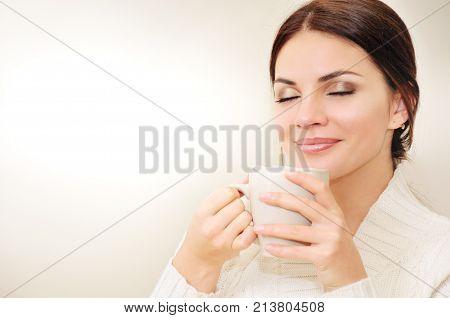 Beautiful Woman Drinking Coffee Or Tea