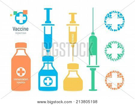 Vaccine vial and syringe, infographic elements. Injection vaccination logo, vector illustration