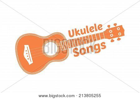 Hawaii national musical instrument. Modern orange ukulele on white background, vector illustration