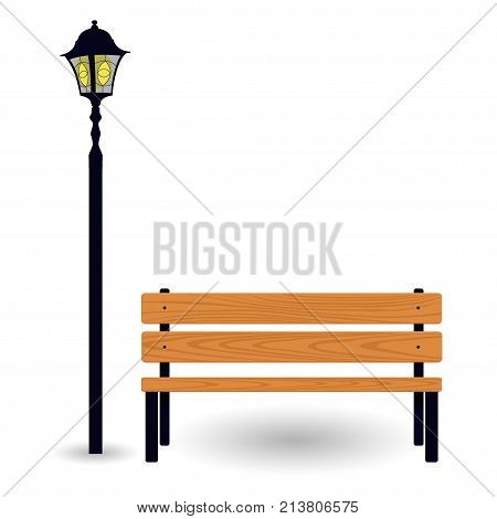 Bench And Streetlight Isolated On White. Vector Illustration.
