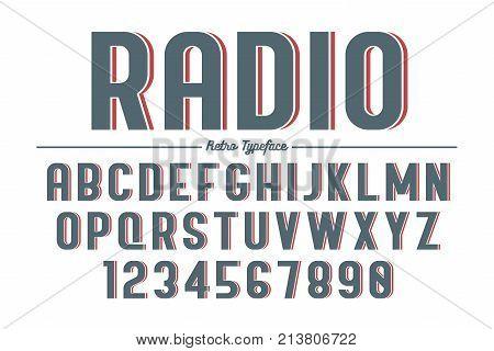 Decorative vector vintage retro typeface font typeface. Color swatches control