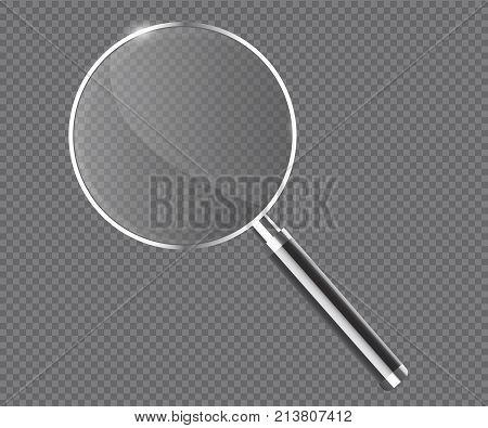 Magnifier transparent realistic vector. Magnifying lens illustration