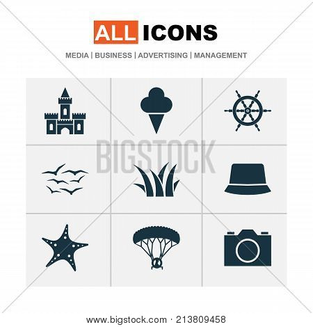 Includes Icons Such As Sunhat, Video, Wheel And Other.  Sun Icons Set.