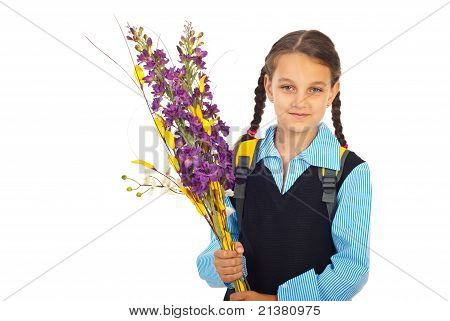 Schoolgirl In First Day Of School