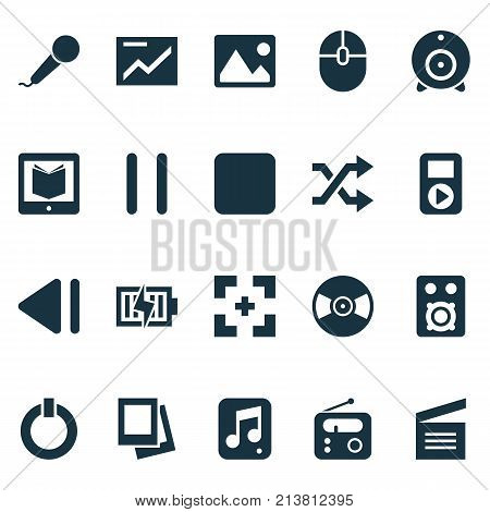 Includes Icons Such As Power, Player, Control Device And Other.  Media Icons Set.