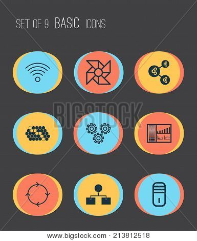 Includes Icons Such As Analysis Diagram, Recurring Program, Mainframe And Other.  Machine Icons Set.