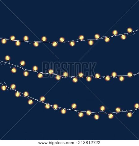 Garlands Christmas decorations lights effects. Isolated vector design elements. Glowing lights for Xmas Holiday greeting card design. Christmas decoration realistic luminous garland.